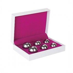 Set de 6 Bolas Chinas Ben Wa Balls Distinto Peso Plateado