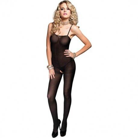 Opaque body mesh with thin shoulder straps from Leg Avenue