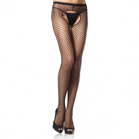 NET pantyhose with crotch opening black Plus