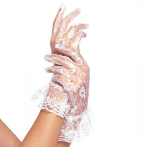 Lace Gloves with ruffle Leg Avenue white