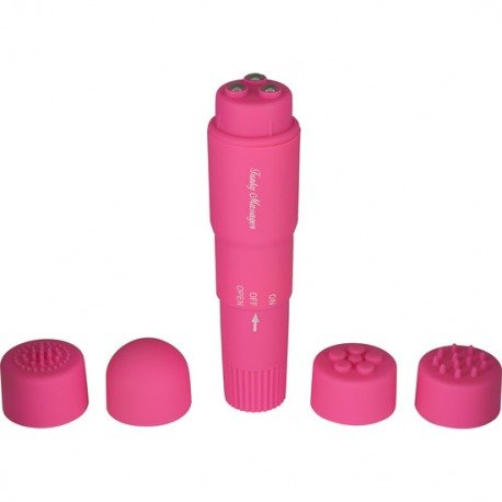 Stimulator with interchangeable heads pink