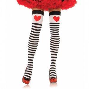 Half a striped heart Leg Avenue Red