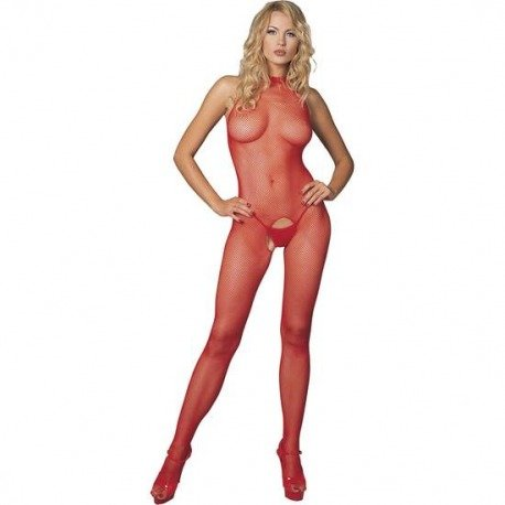 Body de Cuerpo Entero Color Rojo de Redecilla y Escote Halter Leg Avenue