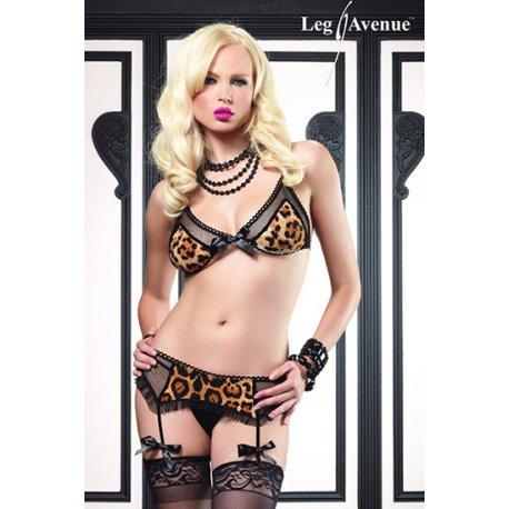 Ensemble de String, porte-jarretelles et soutien-gorge de léopard Leg Avenue