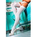 White high with Ribbon and embellishments of nurse fishnet stockings