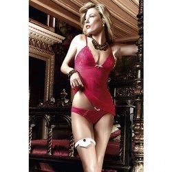 Conjunto Camison y Bikini de Malla y Encaje Rojo
