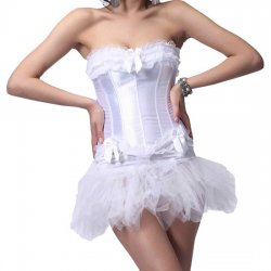 Period corset with white Tutu