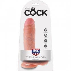 Coq de roi gode réaliste avec testicules 20,5 cm