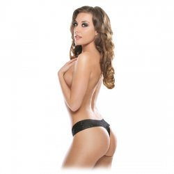 Thong Black Lace with vibrator
