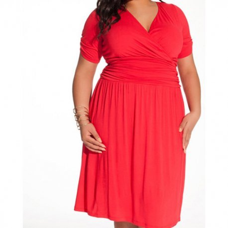 Vestido Cuello Pico Rojo XL - diversual.com