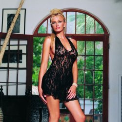 Cheatings of neckline and Floral lace Halter with Thong game