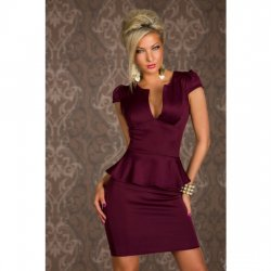 Purple short sleeve ruffle dress