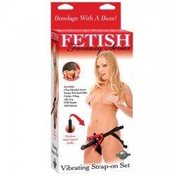 Fetish Fantasy Set de Arnés Vibrador Rojo