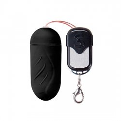 Huevo Vibrador Ribeteado 10 Velocidades Control Remoto Negro Grande