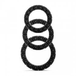 Anneau pour la roue de pénis 3 tailles silicone noir
