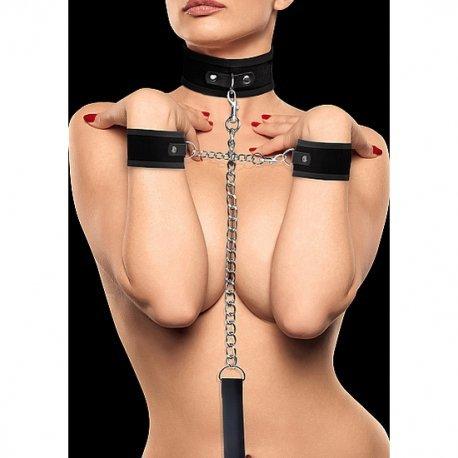 Kit Collar de Velcro y Esposas Negro Ouch