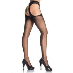 Black stockings with garter belts attached