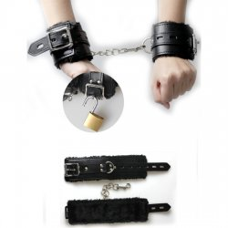 Leather handcuffs with plush