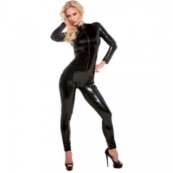 Black vinyl Bodysuit long sleeves