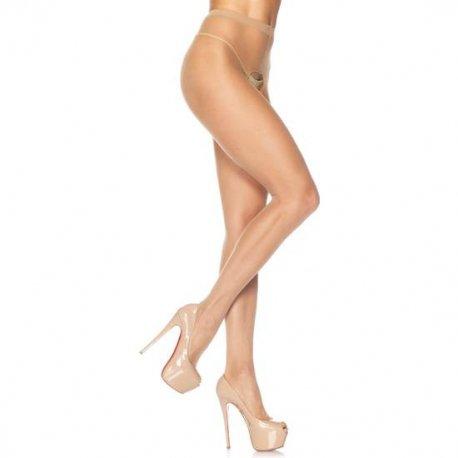 Panties de Nylon con Abertura en la Entrepierna Beig