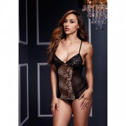 Shirt with Thong Leopard and transparencies