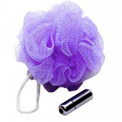 Sexe dans l'éponge de douche en mesh avec vibrateur