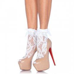 Calcetines de Encaje con Volante Blanco