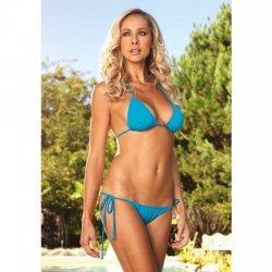 Bikini de Triángulo con Brasileña Fruncido Turquesa