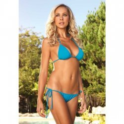 Triangle bikini with Brazilian turquoise smocking