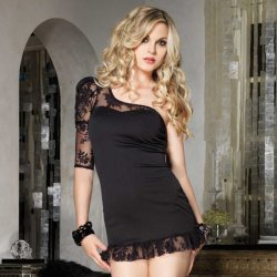 Mini asymmetric dress with Black Lace