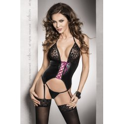 Roxy Corset with garter belt Black Leather Fusion