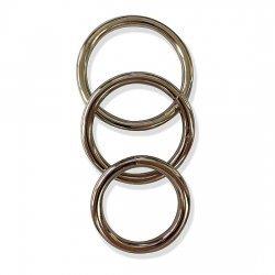 Pack 3 anneaux en métal pour le pénis doré