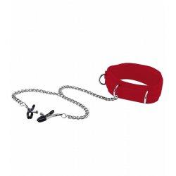 Fetish Collar Velcro con Pinza Pezones Rojo