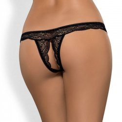 Miamor Crotchless Tanga Negro