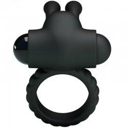 Eudora Anillo Vibrador con Estimulador Negro