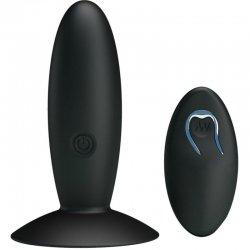 Bottom Plug Anal Recargable con Vibración y Mando Negro