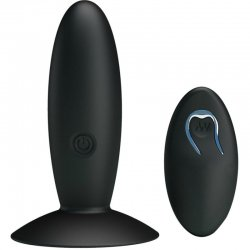 Bottom rechargeable Anal Plug with vibration and black handle