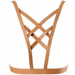 Maze cross harness Brown v-neck