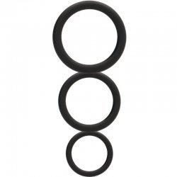 Set 3 anneaux épais silicone noir