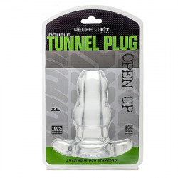 Plug Doble Abierto Tunnel XL Transparente