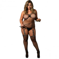 Reversible large size Bodystocking black