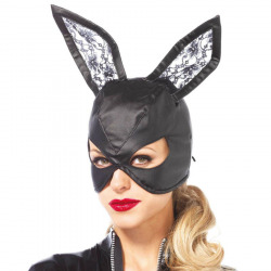 Masque de lapin noir cuir