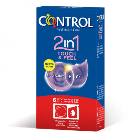 Preservativos Control 2 in 1 Touch & Feel + Lube 6 uds