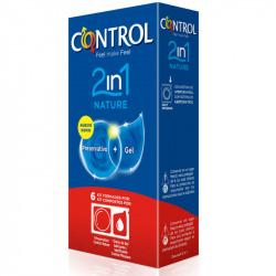 Preservativos Control 2 en 1 Nature + Lube Nature 6 uds
