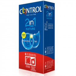 Contrôler les préservatifs Nature 2 en 1 + lubrifiant Nature 6 uds