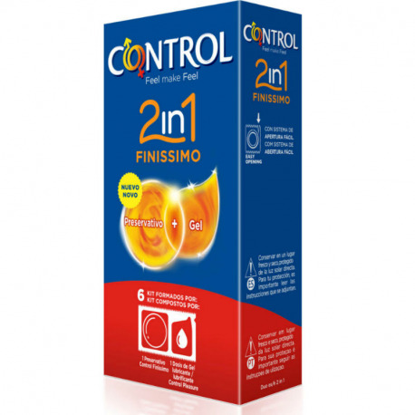 Preservativos Control 2 in 1 Finissimo + Lube Nature 6 Uds