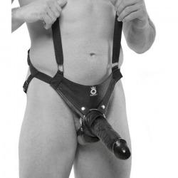 Harnais anti-chute avec pénis creux 25 cm noir
