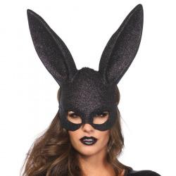 Máscara Grande Orejitas de Conejo Negra con Purpurina
